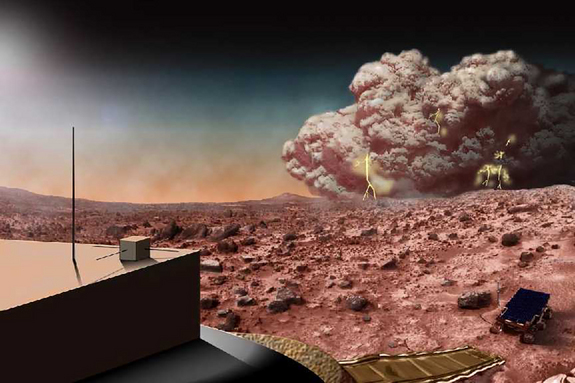 A Martian dust storm might crackle with electricity, as in this artist's concept.