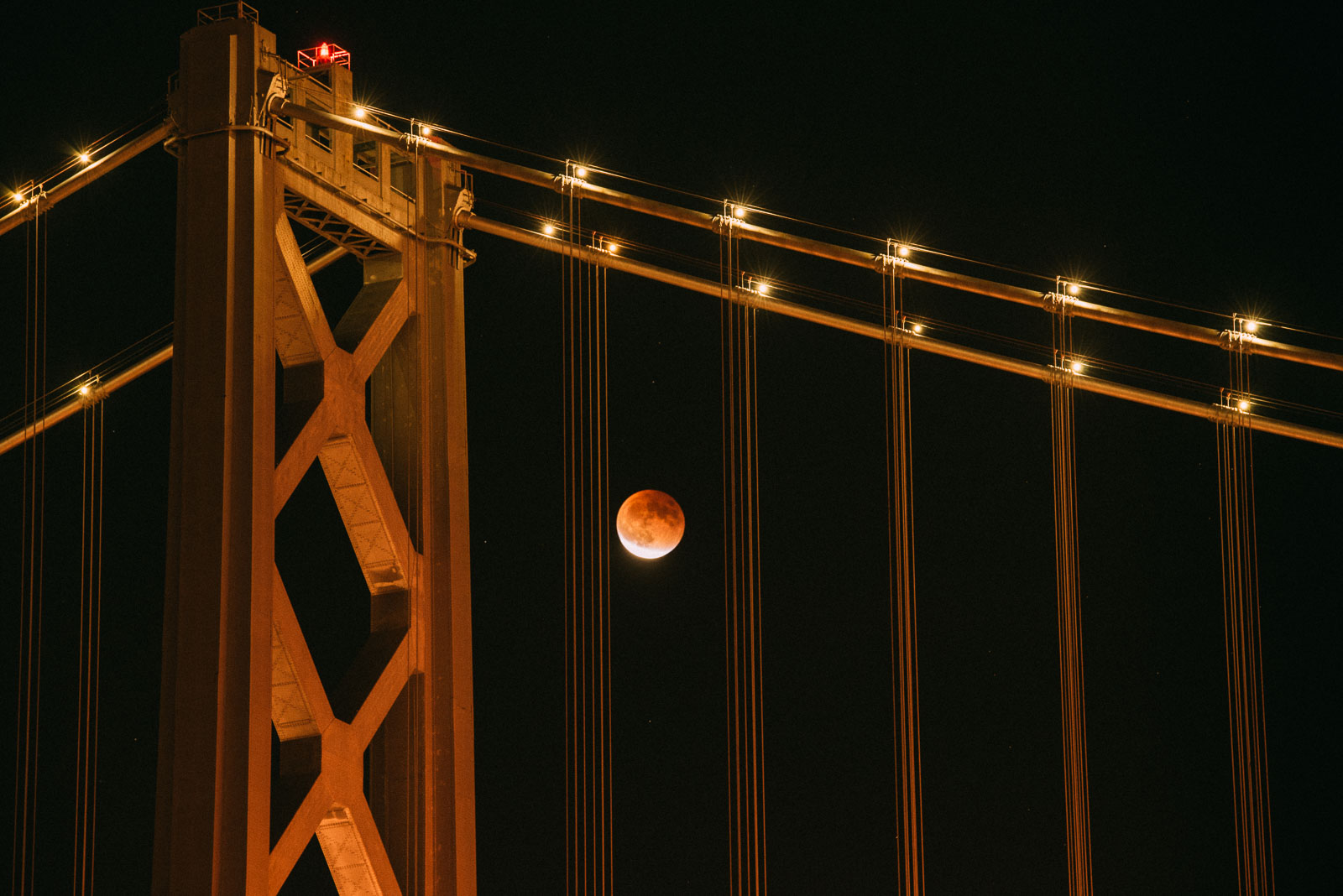 Supermoon Lunar Eclipse from Bay Bridge, California