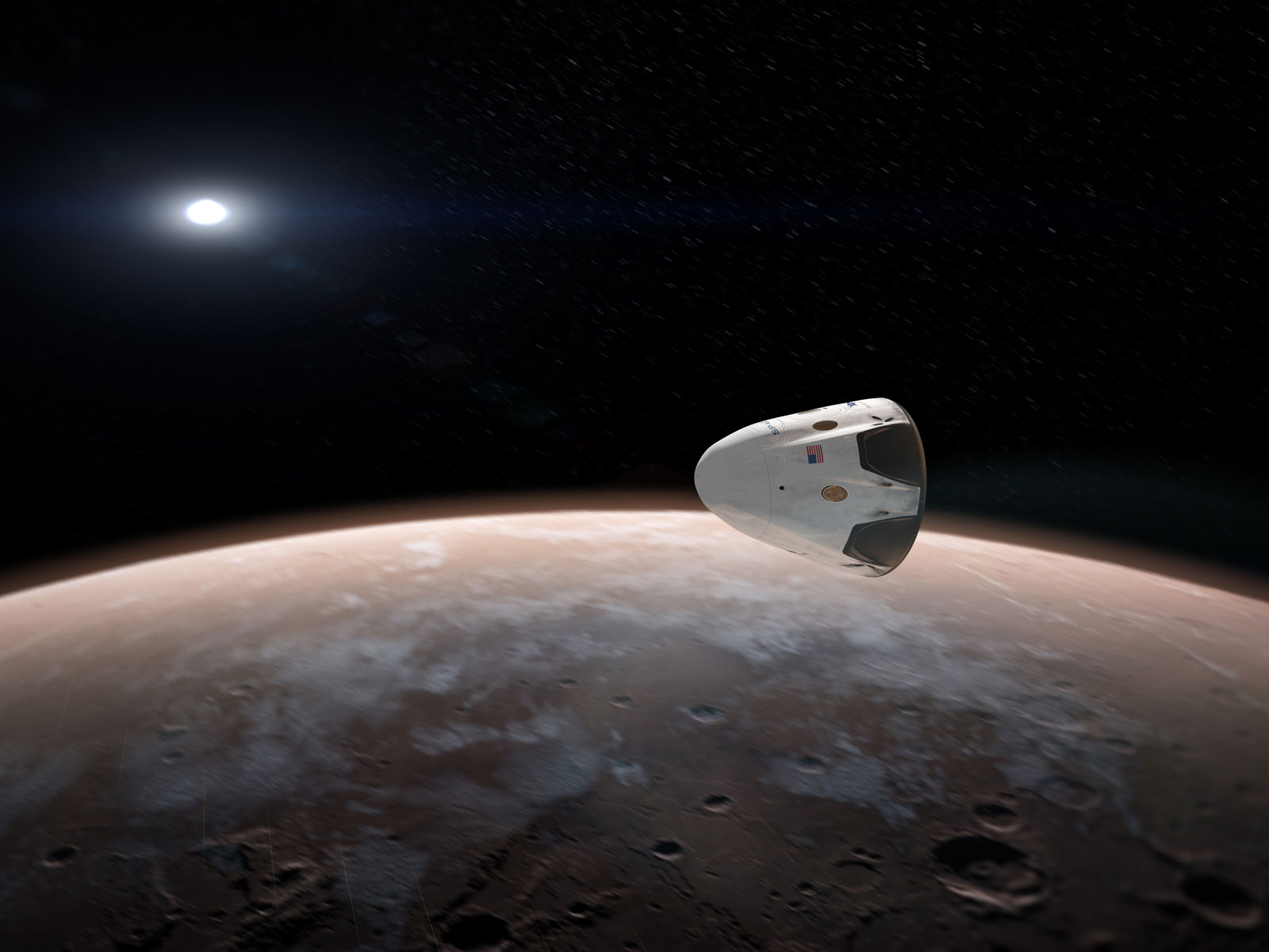 SpaceX's Dragon Orbits Mars | Space Wallpaper