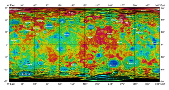 A color-coded map from NASA's Dawn mission reveals the surface  topography of dwarf planet Ceres. Image released Sept. 30, 2015.