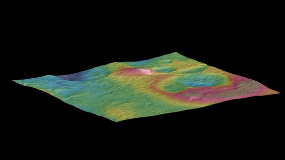 NASA's Dawn spacecraft provided image used to produce this view of Ceres featuring a tall conical mountain. Image released Sept. 30, 2015.