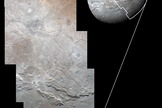NASA's New Horizons spacecraft used its the Long Range Reconnaissance Imager (LORRI to obtain high-resolution images of Charon on July 14, 2015, which were combined with enhanced color from the Ralph/Multispectral Visual Imaging Camera (MVIC).