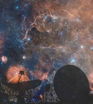 This image portrays the Jodrell Bank Observatory (silhouetted in the foreground), where scientists are studying pulsars, which are formed through exploding stars called supernovas. In the background of the image is the Vela supernova remnant.