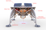 Image detailing the different systems and components of SpaceIL's robotic lunar lander, which weighs 1,100 lbs. (500 kilograms) and measures 5 feet high by 6.6 feet wide (1.5 by 2 meters).