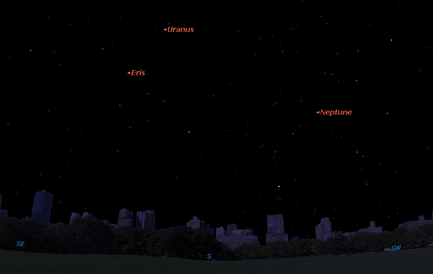 The planet Uranus will be at opposition on Oct. 11, 2015. This Starry Night Software sky map shows the location of Uranus, as well as Neptune, at midnight on Sunday, Oct. 11, 2015 as seen in the southern sky from mid-northern latitudes.