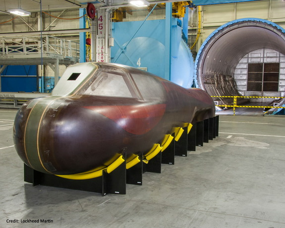 The body of the Dream Chaser orbital vehicle, recently manufactured by Lockheed Martin.