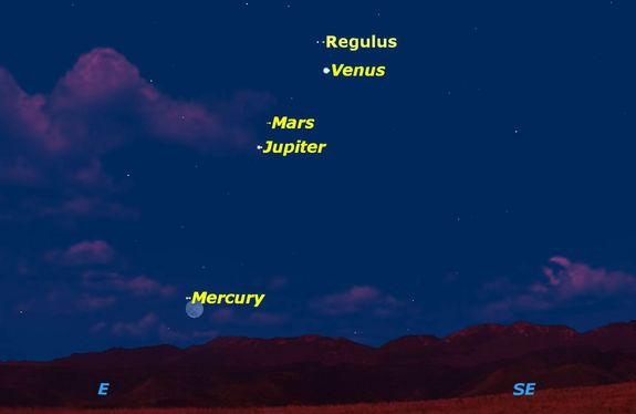 On Sunday, Oct. 11, Mercury will shine near the moon making it easy to spot in the early-morning sky. Set your alarms, though. You'll have to get up before dawn to see Mercury.