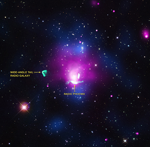 "An image of galaxy cluster Abell 1033 and the electron cloud known as the ""radio phoenix."""