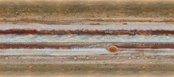 This amazing full-planet map of Jupiter as seen by the Hubble Space Telescope is one of several captured during a 10-hour period by the Hubble Space Telescope on Jan. 19, 2015. NASA unveiled the new Jupiter maps on Oct. 13.