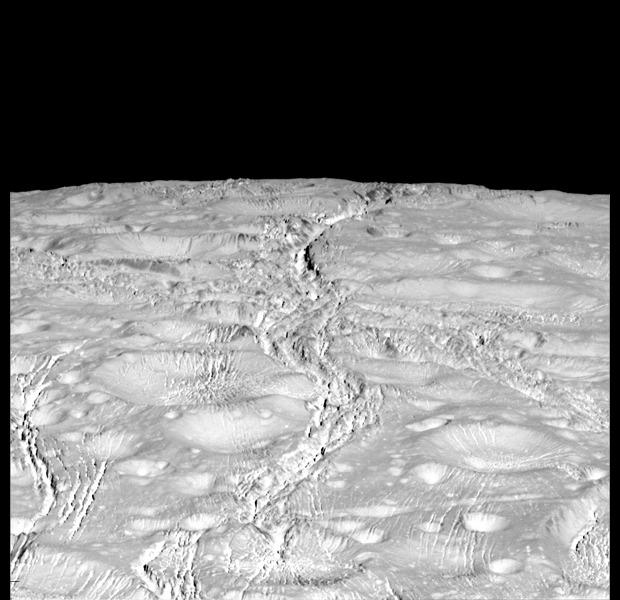 Cassini Photo of Enceladus' North Pole