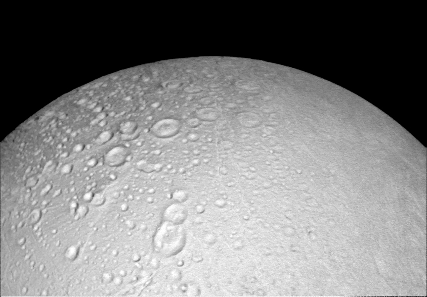 Enceladus' Heavily Cratered North Pole