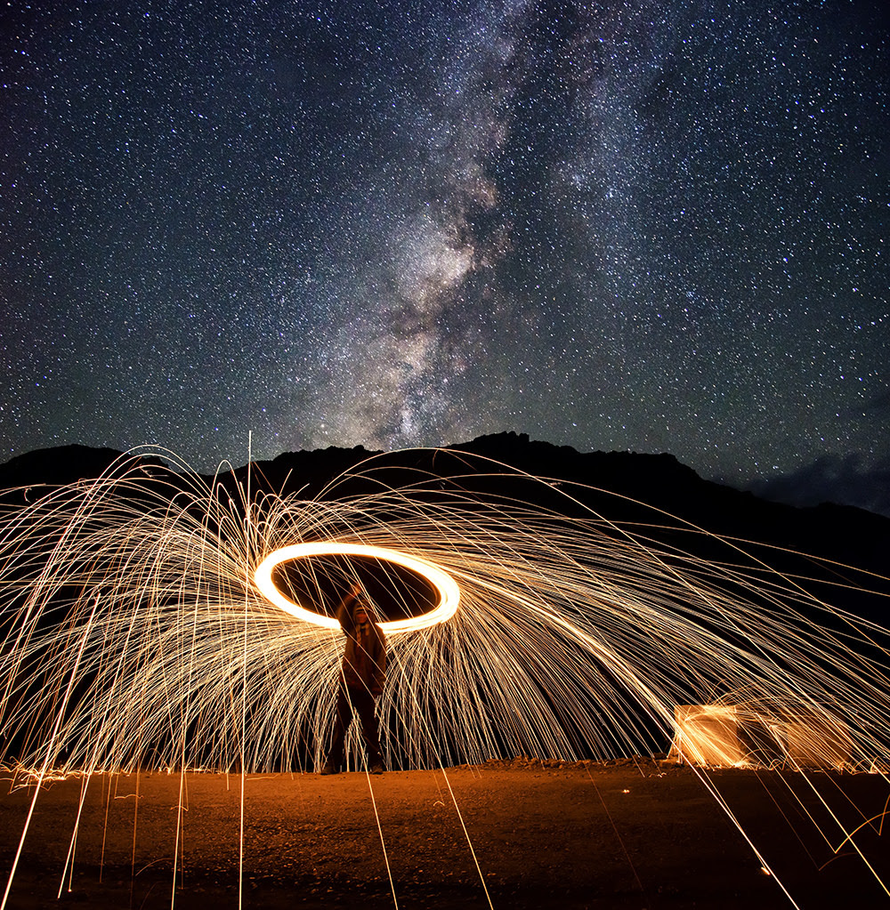 Spinning Fire Under the Milky Way Makes an Awesome Photo