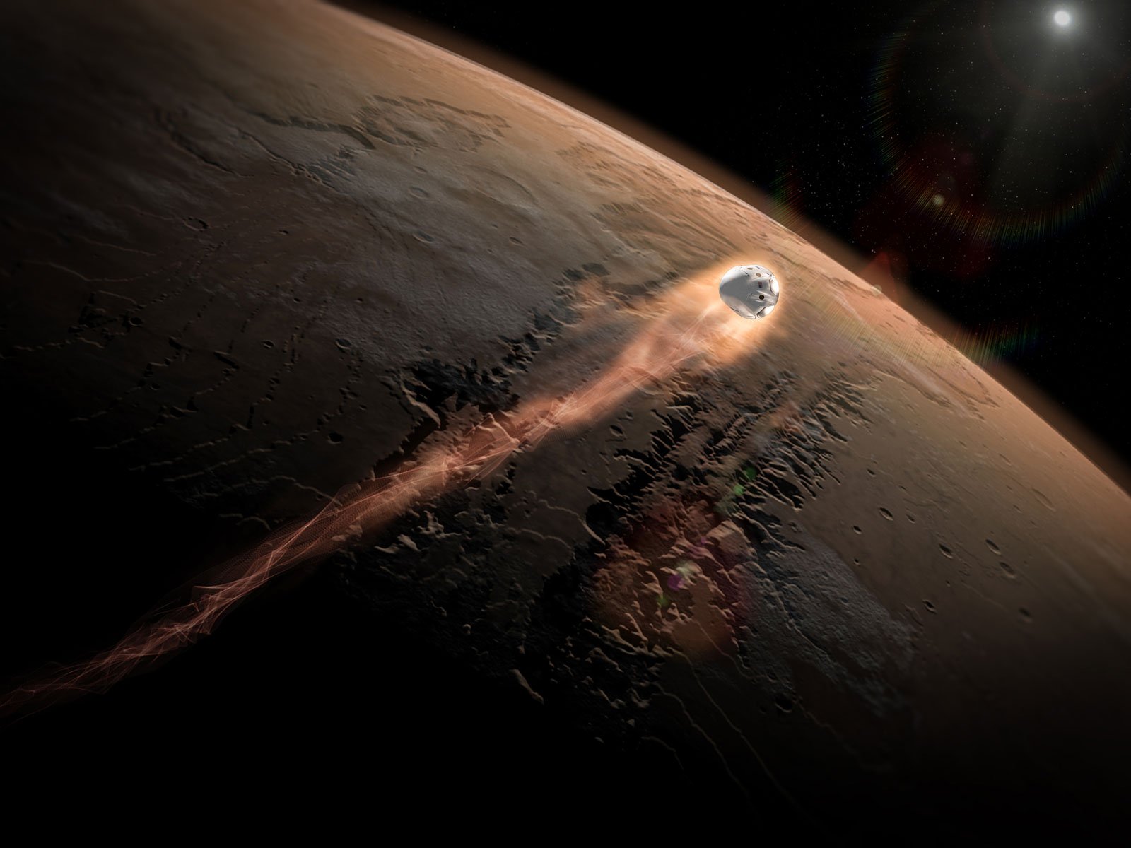SpaceX's Dragon Enters Mars' Atmosphere | Space Wallpaper
