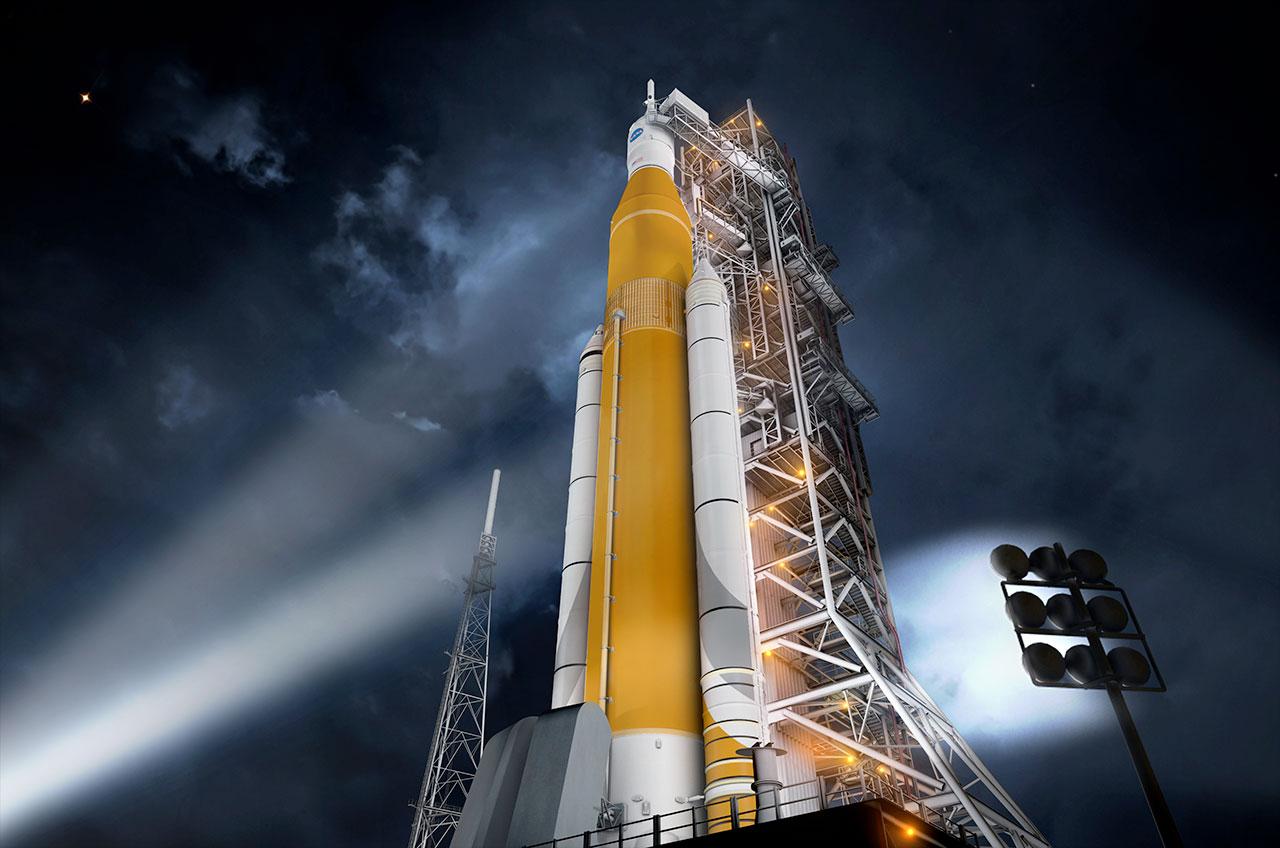 NASA's SLS Rocket Sheds Saturn V Color Scheme in Design Review