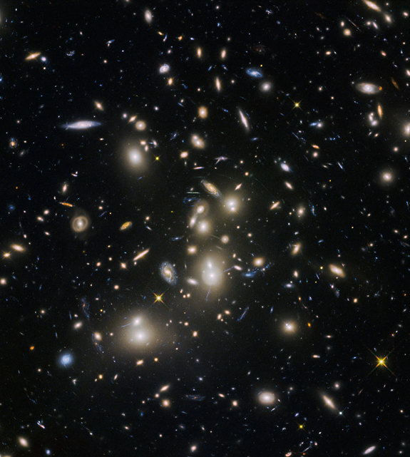 Abell 2744, nicknamed Pandora's Cluster, was the first of six targets within the Frontier Fields programme, which together have produced the deepest images of gravitational lensing ever made. The cluster is thought to have a very violent history, having formed from a cosmic pile-up of multiple galaxy clusters.