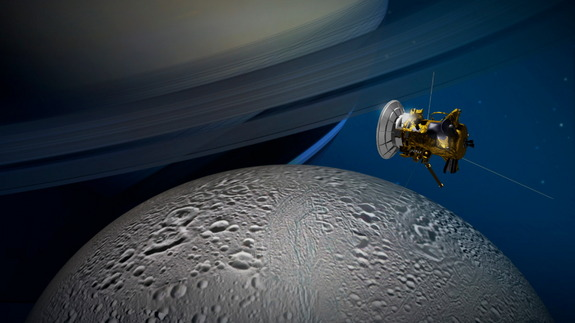 Artist's illustration of NASA's Cassini spacecraft flying by Saturn's icy moon Enceladus. Cassini will make its deepest-ever dive through Enceladus' south polar plume on Wednesday (Oct. 28).