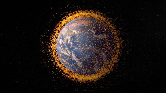 This graphic, created in 2013, shows the cloud of space junk surrounding Earth.