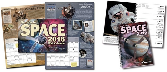 "The 2016 Year In Space Calendar by Starry Messenger Press, in partnership with The Planetary Society, is a must-have for any space fan hoping to get a handle on the dates that matter. Spiral-bound desk calendars and stunning large-format wall calendars are available for $13.95 or less, depending on quantity ordered. <a href=""http://www.yearinspace.com/"" Buy the 2016 Year In Space Calendar</a>"