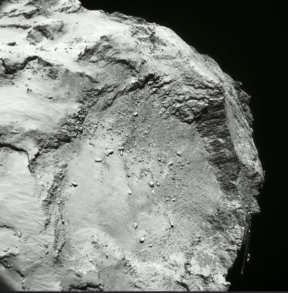 The Hatmehit region on the small lobe of comet 67P/Churyumov-Gerasimenko. The Rosetta spacecraft continues to reveal new secrets about the composition of the comet, including the recent discovery of molecular oxygen.