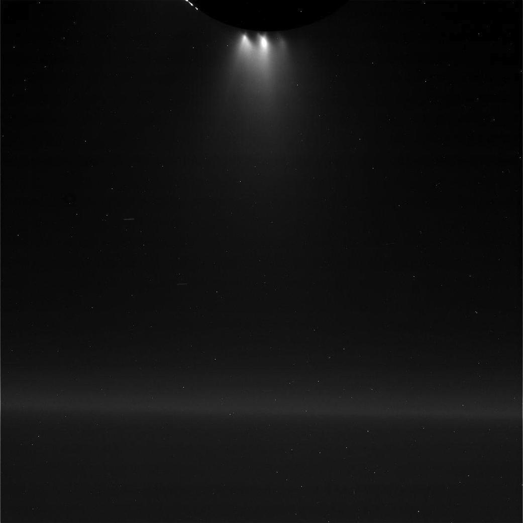 Plume Coming Off Saturn's Moon Enceladus