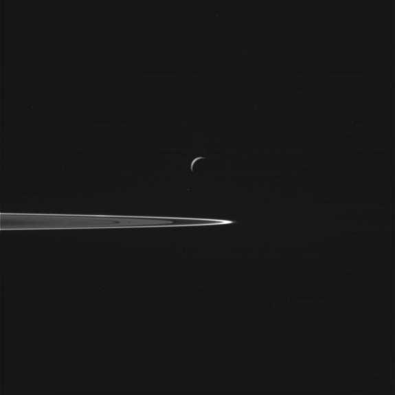 A view of Saturn's moon Enceladus, acquired by NASA's Cassini spacecraft during a close flyby of the icy moon on Oct. 28, 2015.
