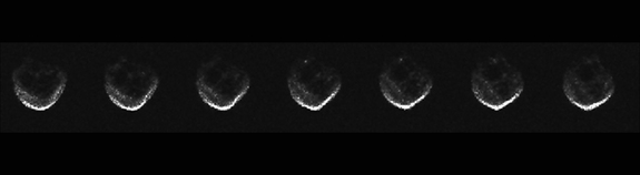 This series of radar images of the asteroid 2015 TB145 were captured by the Arecibo Observatory in Puerto Rico. They show views of the so-called Halloween asteroid as it rotated during a 40-minute observation ahead of its Oct. 31, 2015 flyby of Earth.