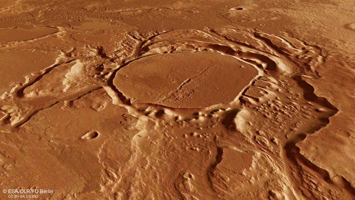 Perspective View of Crater in Mangala Valles on Mars
