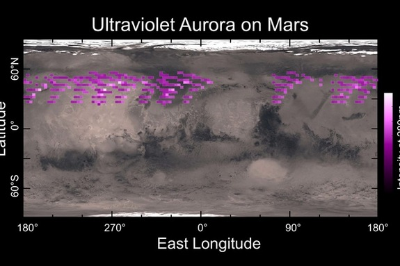 Map of the Martian auroras detected by NASA's MAVEN probe in December 2014. The aurora was widespread in the Red Planet's northern hemisphere.
