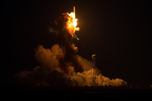 Orbital Sciences' Antares rocket suffers a catastrophic failure shortly after lifting off on a robotic cargo mission to the International Space Station on Oct. 28, 2014.