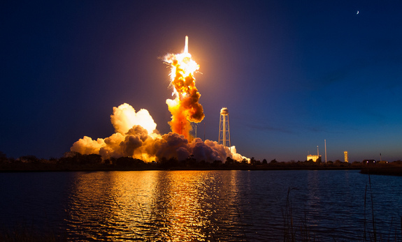 An Orbital ATK Antares rocket carrying a Cygnus spacecraft suffers explodes moments after launching from the Mid-Atlantic Regional Spaceport Pad 0A on Oct. 28, 2014 at NASA's Wallops Flight Facility on Wallops Island, Virginia.