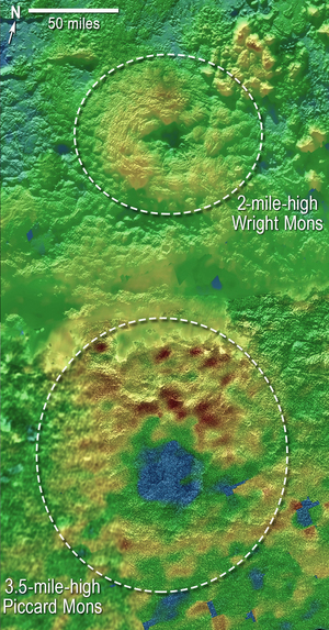 Two peaks on Pluto, Wright Mons and Piccard Mons, bear striking similarities to volcanoes, and scientists are wondering if the solar system's largest ice dwarf is home to cryovolcanism.