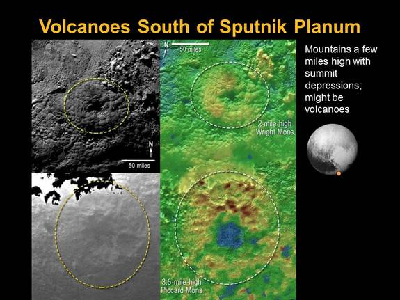 The locations of two mountains on Pluto that may actually be icy volcanoes are shown in this montage of images from NASA's New Horizons spacecraft captured during its July 2015 flyby. The new images were unveiled Nov. 9.