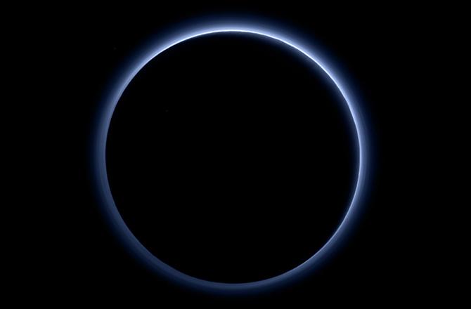 Back-lit, Blue-skied Pluto