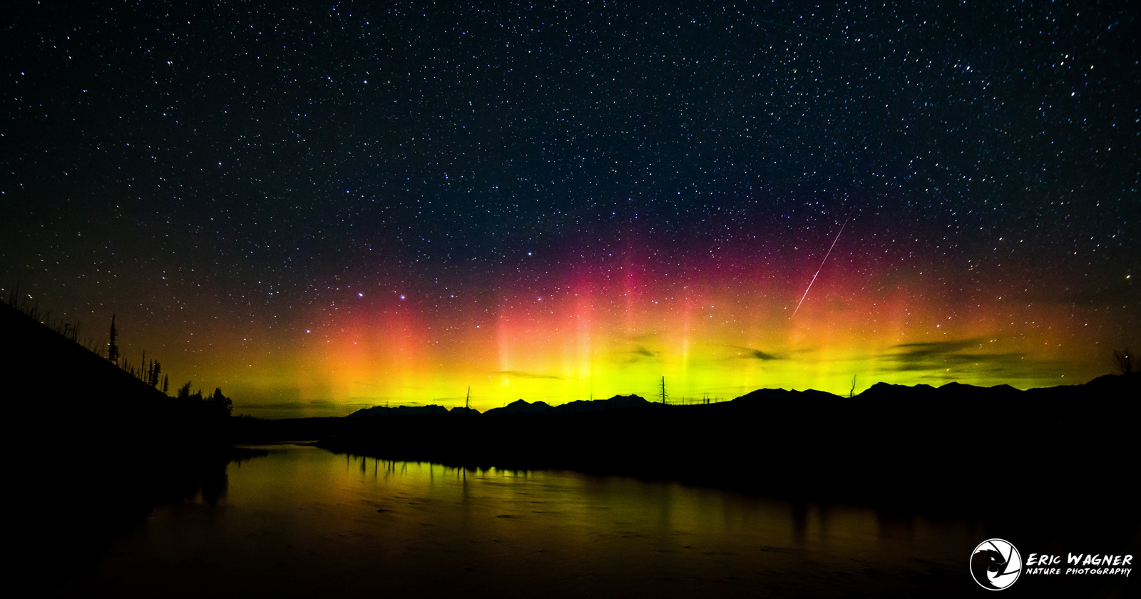 Aurora, Meteor and Big Dipper Over Montana