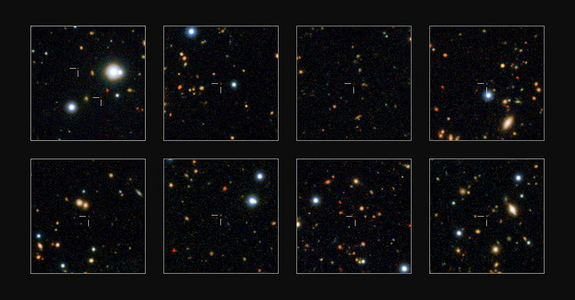 This series of images from the VISTA survey telescope shows a collection of previously hidden monster galaxies born when the universe was in its infancy, scientists say.