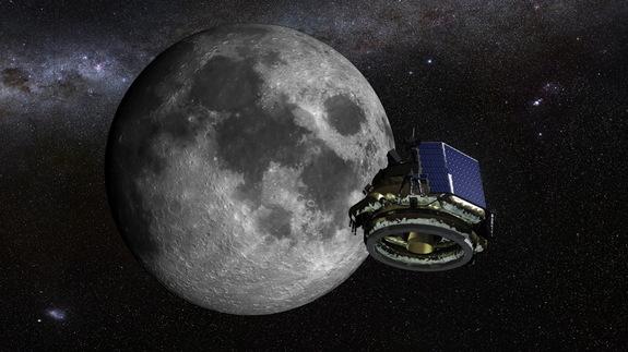 Artist's illustration of Moon Express' MX-1 lunar lander headed to the moon.