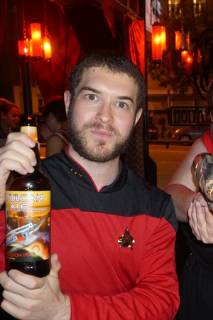 The author poses with Vulcan Ale during a launch party on Oct. 5.