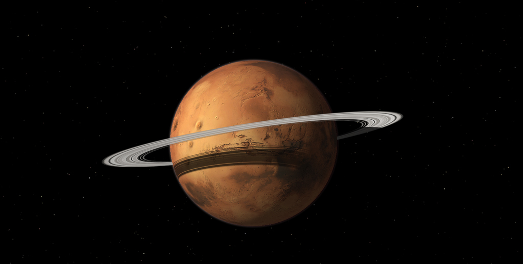An artist's impression of a ring around Mars, formed by its tiny moon Phobos.