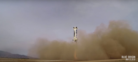 Blue Origin's New Shepard rocket first stage descends toward its landing pad after a successful unmanned suborbital test flight from its West Texas launch site on Nov. 23, 2015 in this still image from a Blue Origin video.