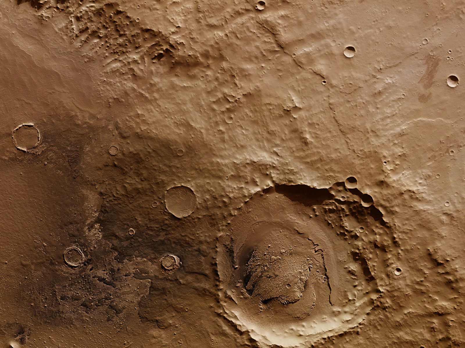 On the Edge at Schiaparelli Crater | Space Wallpaper