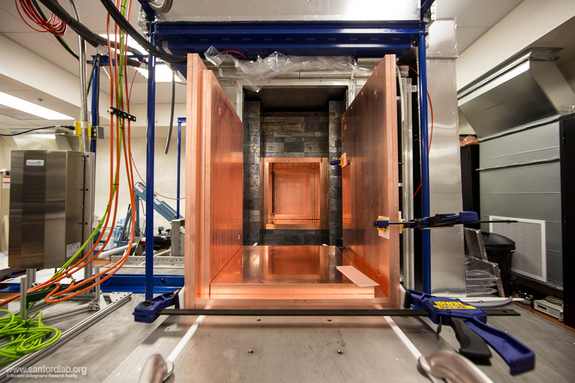 "The inner copper shielding for the Majorana Demonstrator experiment is actually made of two layers of copper. The outermost layer is the purest copper that can be purchased commercially. The inner layer of copper is the purest in the world. It was ""grown"" by electroforming in a lab underground at Sanford Lab."