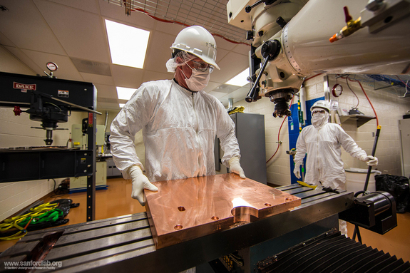 Randy Hughes works in a cleanroom machine shop nearly one mile underground. He machines all the copper parts for the Majorana Demonstrator experiment.