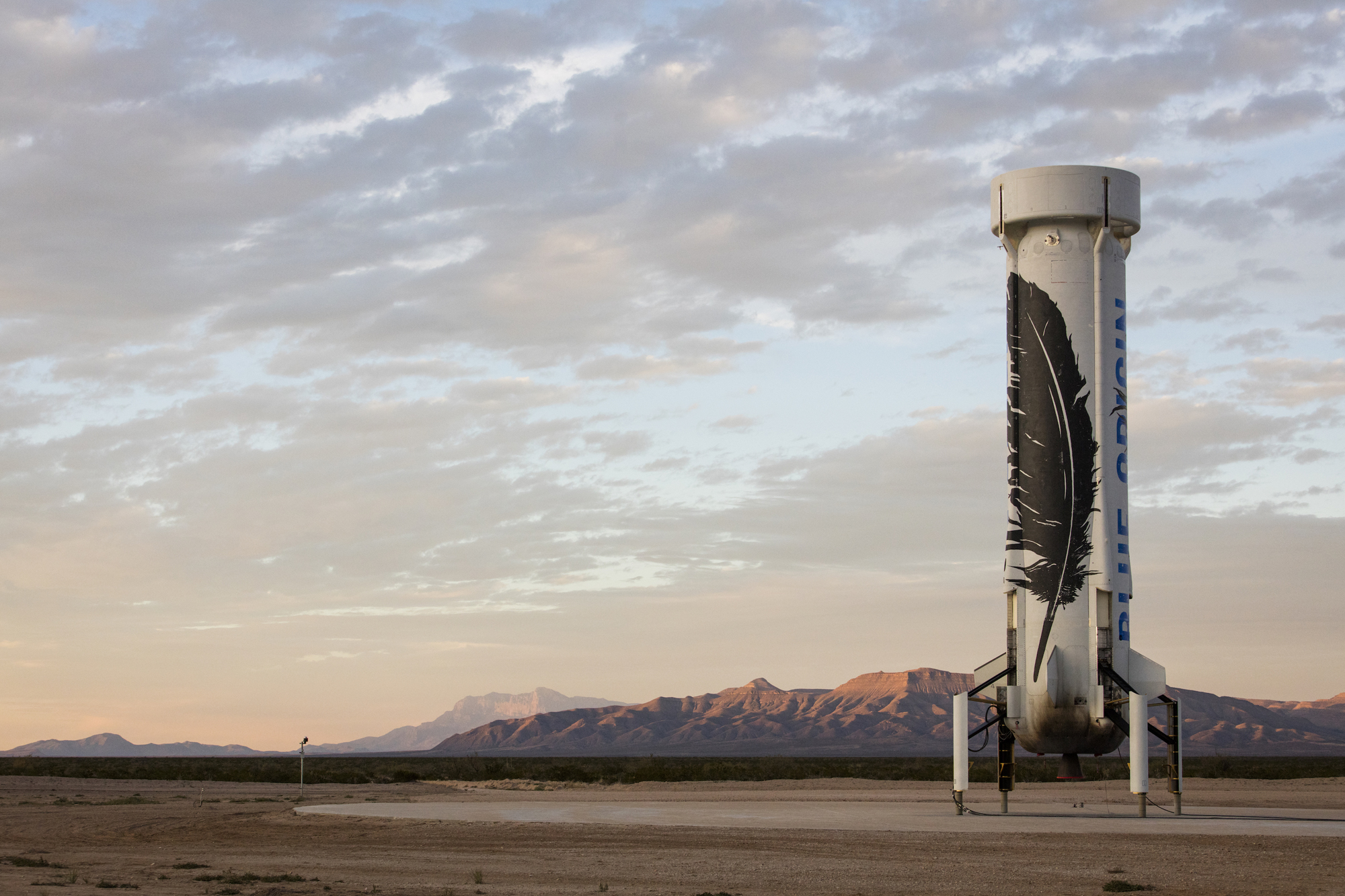 Blue Origin's New Shepard Rocket After Landing