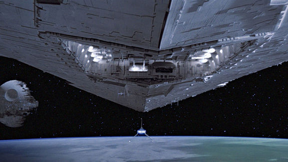 """The famous opening shot of """"Star Wars: Episode VI – Return of the Jedi."""""""