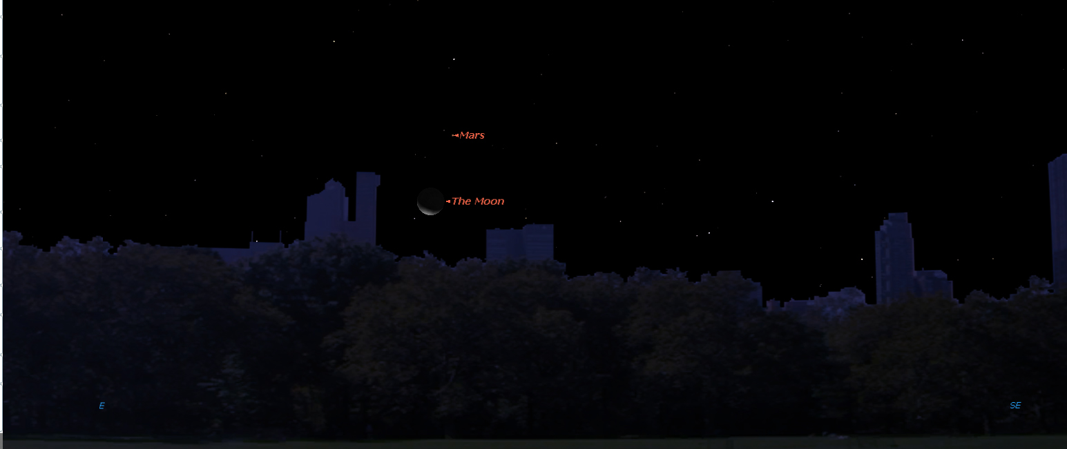Crescent Moon Points the Way to a Slowly Brightening Mars This Weekend