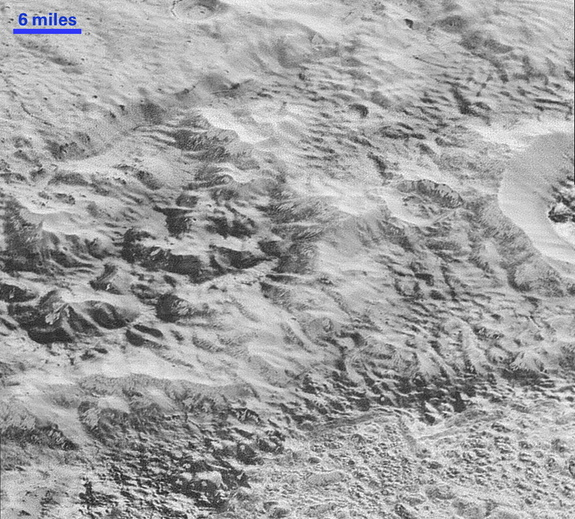 This highest-resolution image from NASA's New Horizons spacecraft shows how erosion and faulting on Pluto have shaped the icy crust of the planet into rugged badlands topography.
