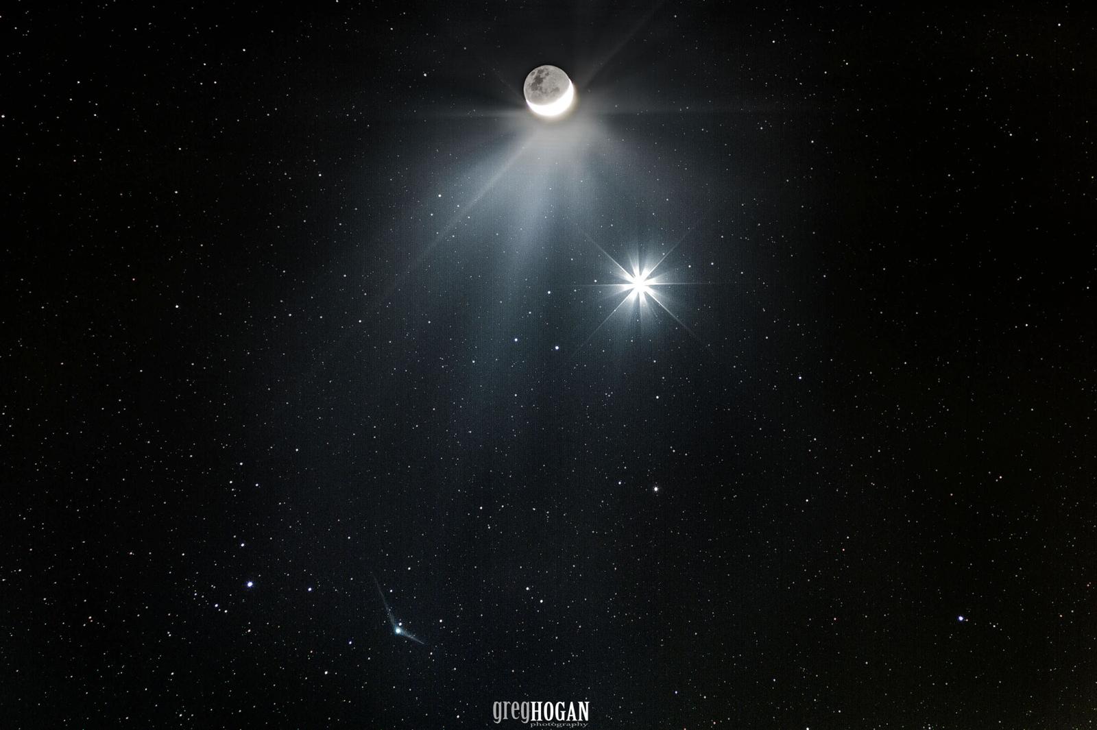 Comet Catalina, Venus, and the Moon
