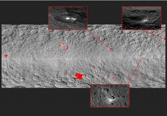 Mosaic showing 130 bright spots on Ceres. Top left: A haze appears above Occator Crater when the sun hits it, suggesting the crater contains subsurface water ice. Top right: A kind of haze also appears above Oxo Crater, the second-brightest structure on Ceres. Bottom: A typical crater without water.