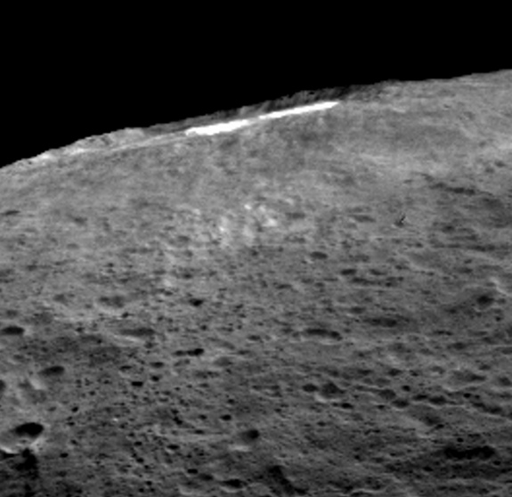 When sunlight reaches Ceres' Occator Crater, a kind of haze of dust and evaporating water forms there. This haze can only be discovered by looking at it laterally, as has been done here.