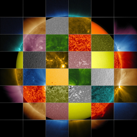 This collage of solar images from NASA's Solar Dynamics Observatory (SDO) shows how observations of the sun in different wavelengths helps highlight different aspects of the sun's surface and atmosphere. (The collage also includes images from other SDO instruments that display magnetic and Doppler information.)